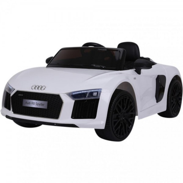 Mașinuță electrică  cu telecomandă AUDI R8 Spyder alb cu scaun special din plastic