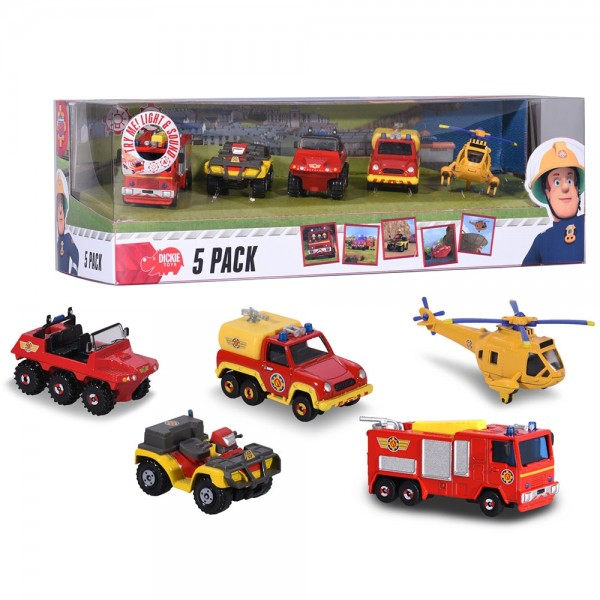 Set Dickie Toys 4 masinute si un elicopter Fireman Sam