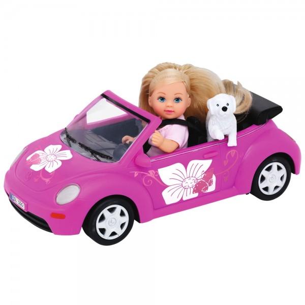 Papusa Simba Evi Love 12 cm Evi's Beetle cu masina catelus si accesorii