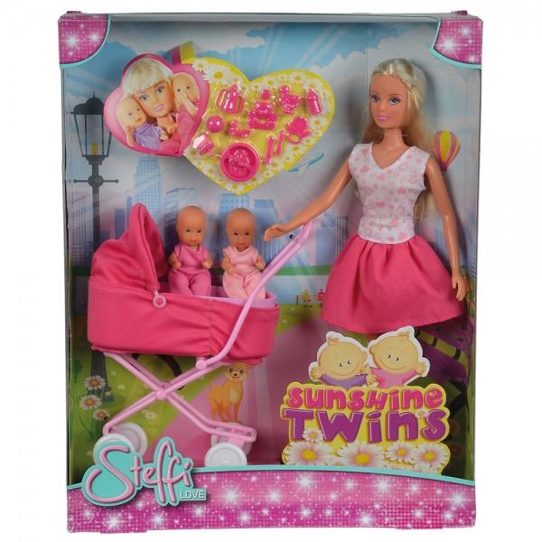 Papusa Simba Steffi Love Sunshine Twins 29 cm roz cu carucior si accesorii