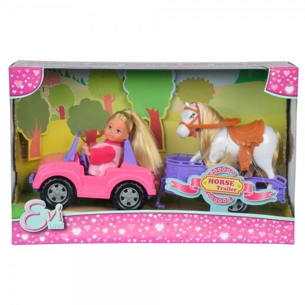 Papusa Simba Evi Love 12 cm Evi Horse Trailer cu masina trailer si calut