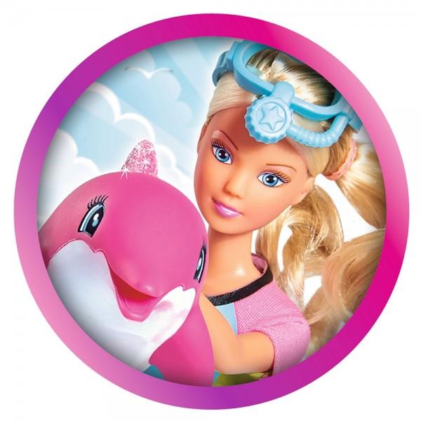 Papusa Simba Steffi Love Dolphin Fun 29 cm cu delfin si accesorii